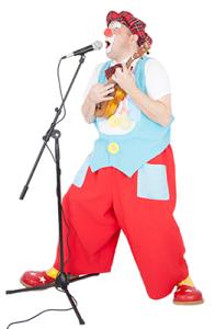 Clown Titof speelt ukulele